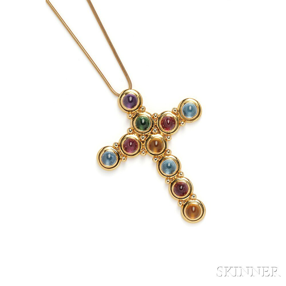 Cross pendant designed by Paloma Picasso for Tiffany & Co. of colored stone cabochons set in 18k gold sold for $4,305 at Skinner Auctions in Boston on September 9, 2014.