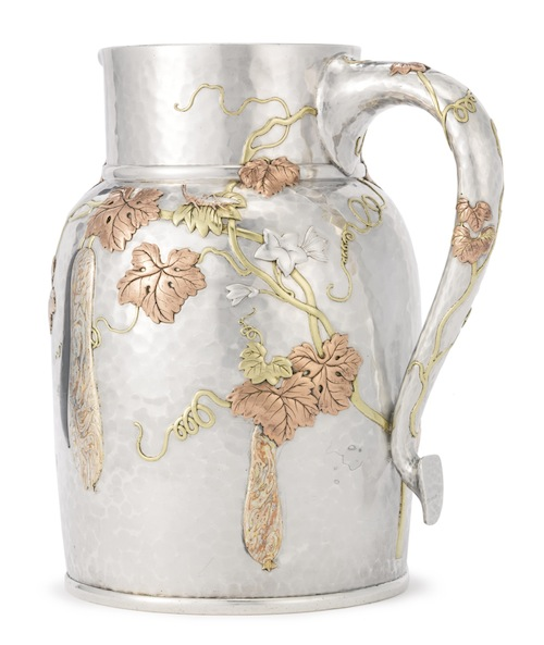 An American Silver and Mixed-Metal Japanesque Water Pitcher, Edward C. Moore for Tiffany & Co., New York, circa 1878