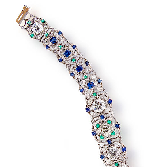 Bracelet of diamond, sapphire, and emerald attributed to Louis Comfort Tiffany, c. 1915-1925, sold for $125,000 at Bonhams New York in October 2013.