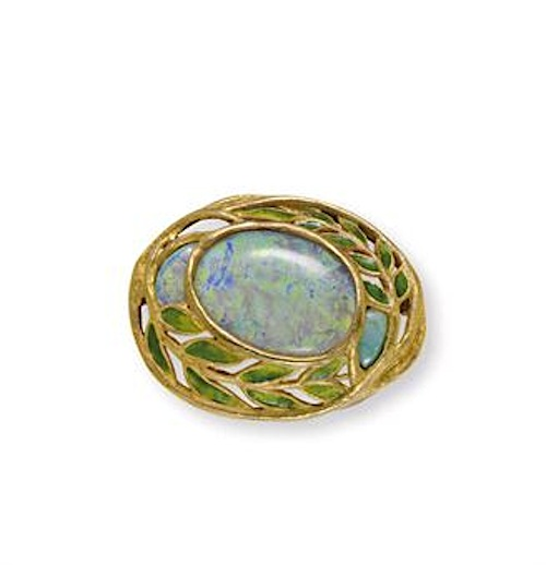 Art Nouveau brooch of opal, enamel, and gold by Louis Comfort Tiffany, c. 1905, sold for $21,250 at Christie's New York in June 2010