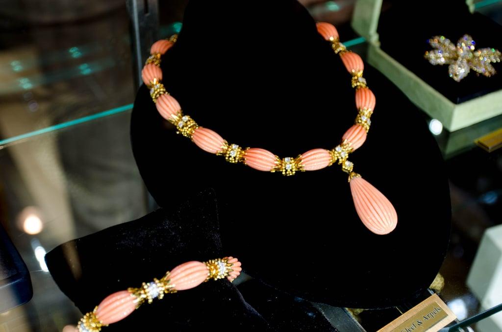 Van Cleef & Arpels coral diamond parure necklace and bracelet