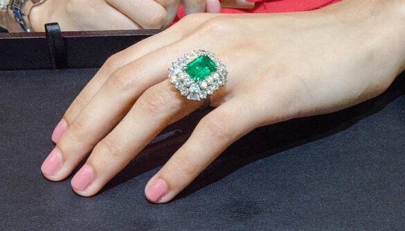Convertible emerald and diamond fancy ring / pendant pieces