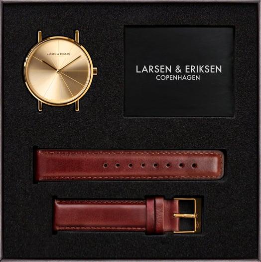 Watch box 37 mm Gold-Gold-Brown LARSEN & ERIKSEN.